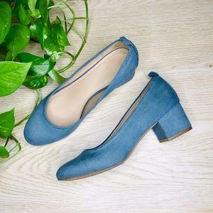 Lenora Blue Microsuede Closed Toe Heeled Pumps